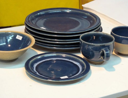 Blue plates, bowl & cups