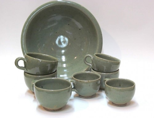 Celadon cups & salad bowl