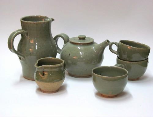 Celadon jugs, teapot & cups
