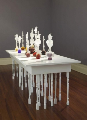 Crystal Chain Gang - The decanters as originally displayed in the Sarjeant Gallery in Wanganui