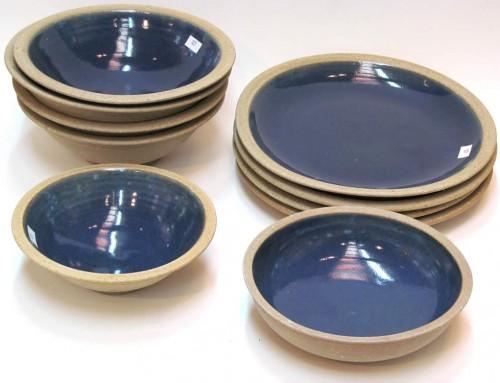 Raw blue plates & bowls