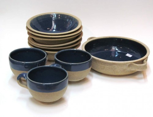 Raw blue server, bowls & cups