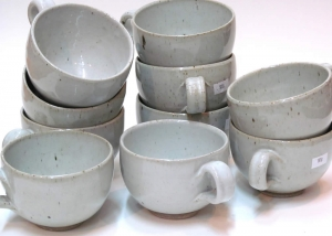 White cups & POTTERY - Paul Melser - Pottery Painting Writing - Carterton ...