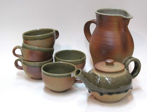 Woodfired celadon cups, jug & teapot