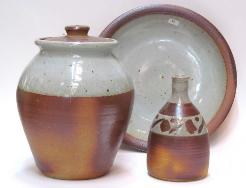 White woodfired jar, bottle and platter