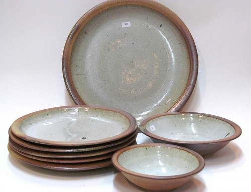 Woodfired white plates, platter & bowls