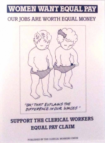 Union Poster. Equal pay is still not a reality since women currently suffer at  least a 10% disadvantage in wages for comparable work.