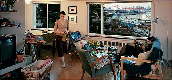 Jeff Wall, View from an Apartment. Transparency and Lightbox 167 x 244cm, 2005.